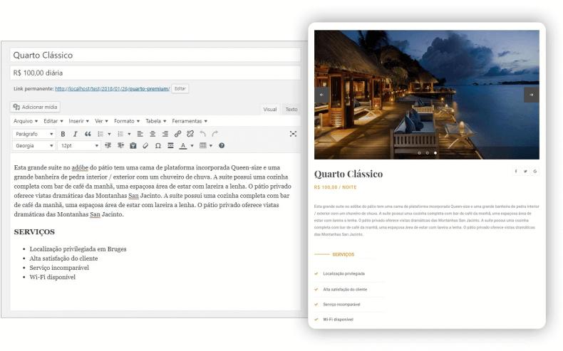 Editor de página para pousada e resultado final