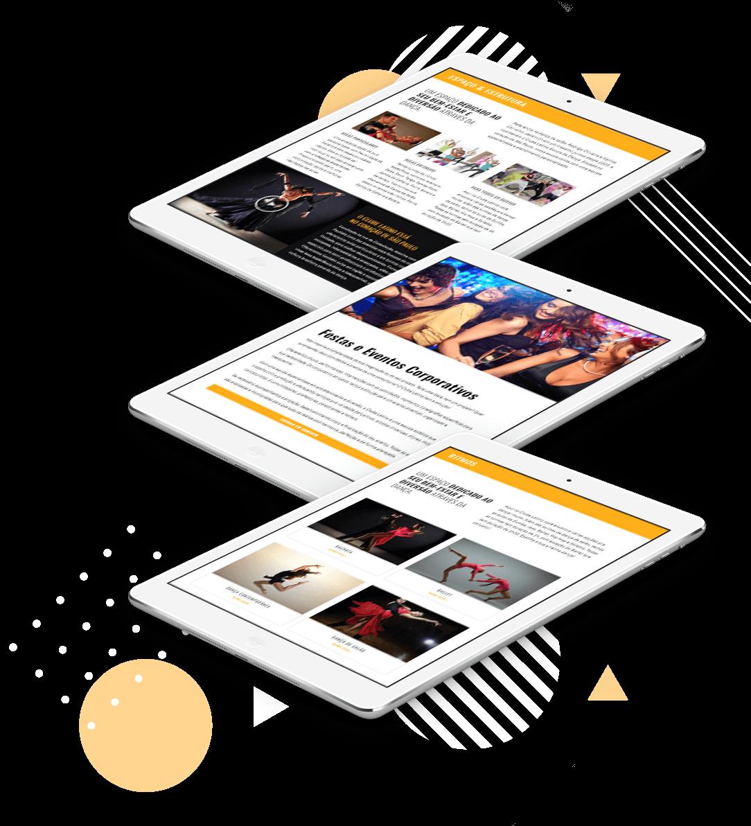 iPad mostrando o redesign do site Clube Latino