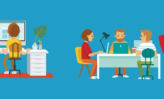 Profissionais trabalhando na criação de site