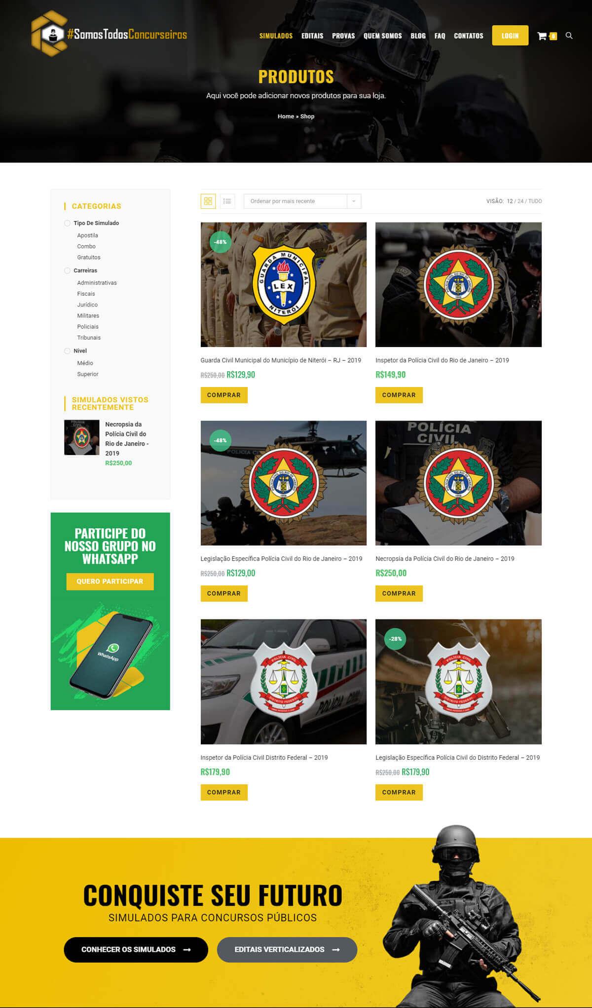 Criação de e-commerce de produtos digitais para Somostodosconcurseiros