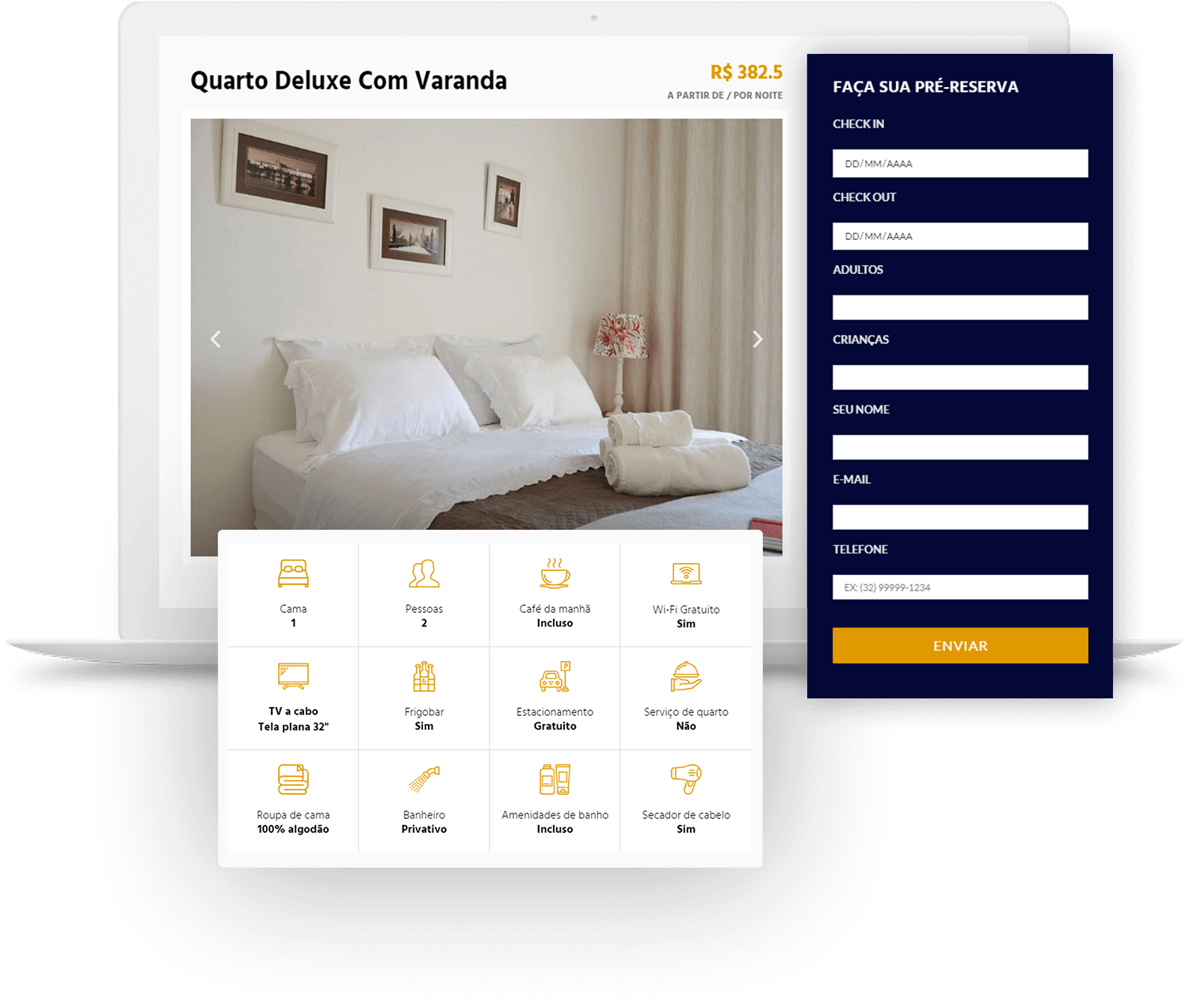 Criação do site para pousada Villa di Antonio - tela de informações do quarto