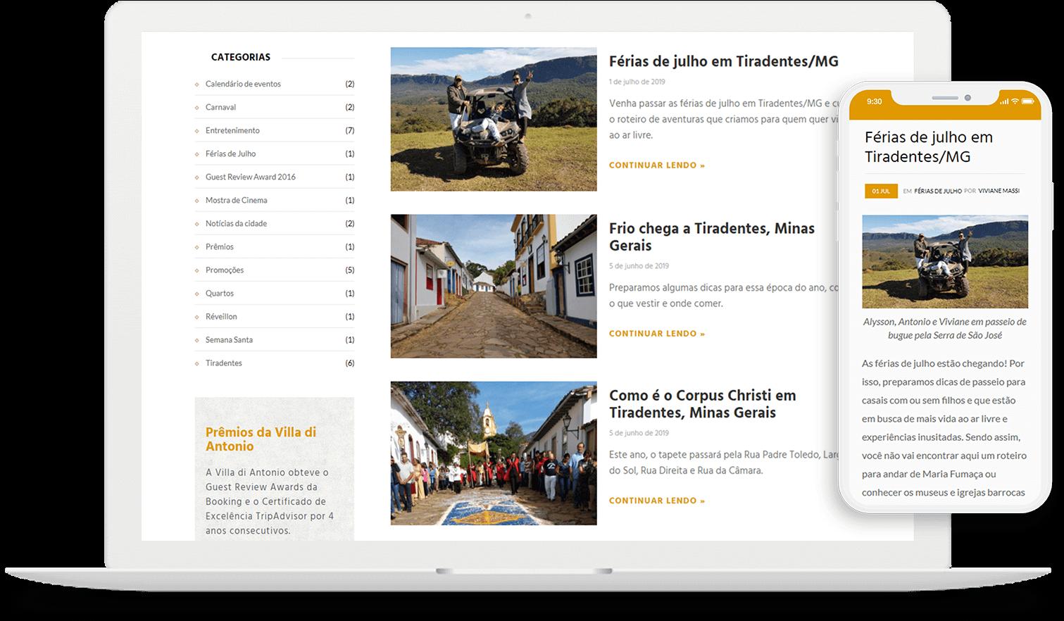 Criação do site responsivo para pousada Villa di Antonio