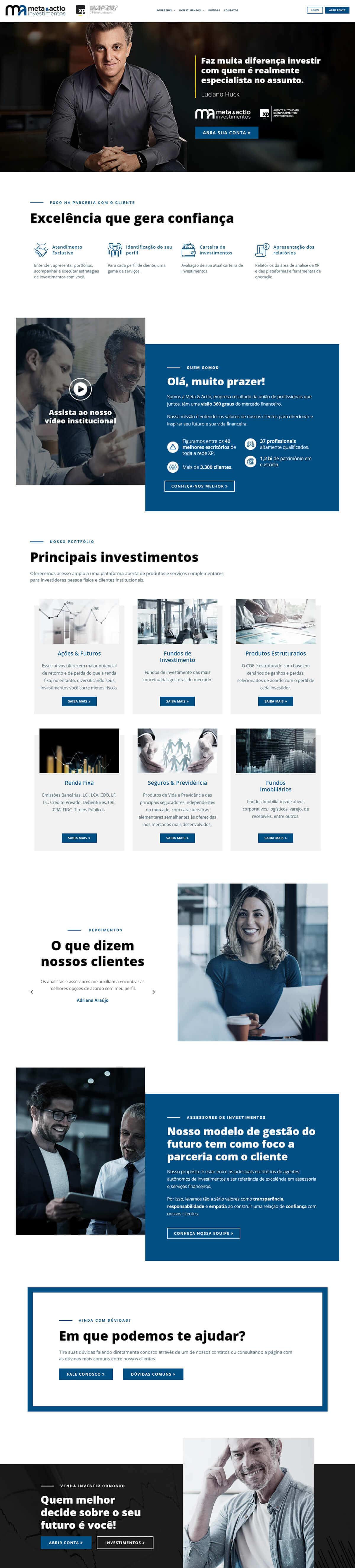 Criação de site institucional para a Meta & Actio Investimentos