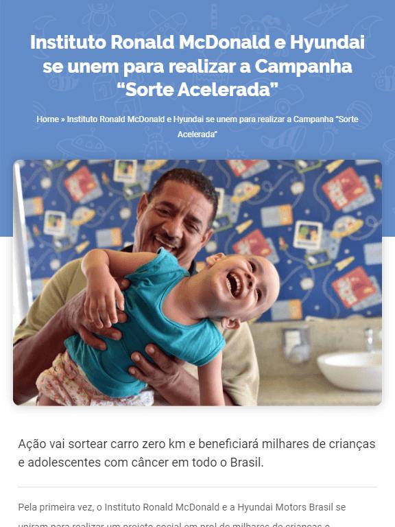 Blog da campanha Sorte Acelerada criado pela Agência Xadrez