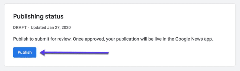 Enviar sua publicação para Google News. Status da publicação.