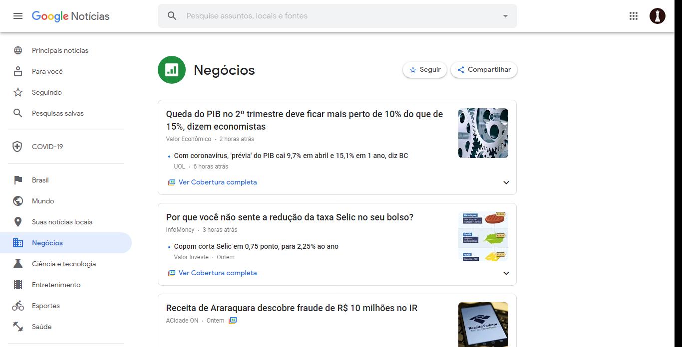 Tela do Google News para desktop, na categoria Negócios.