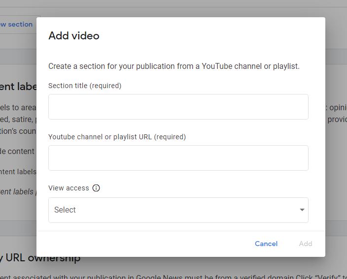 Janela onde você adiciona conteúdo de vídeos do YouTube no Google News