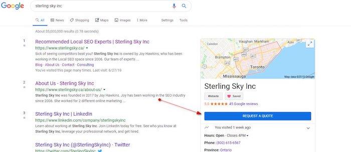 """Resultado de busca com botão """"Solicitar orçamento"""" no Google Meu Negócio"""
